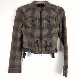 Guess Jeans Moto Plaid Jacket Size XS Authentic